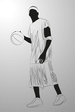 adolescent:   basketball player on white background (illustration) Illustration
