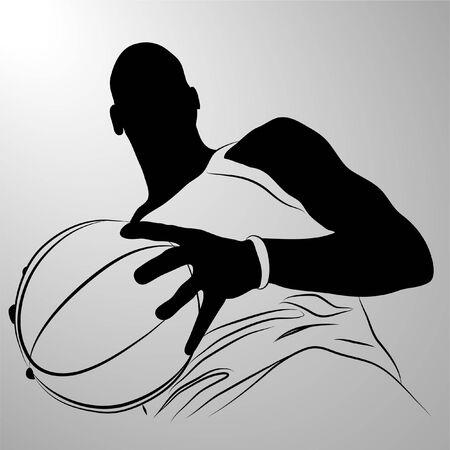 basket ball: Vector basketball player on white background (illustration) Illustration