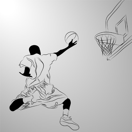 basketball player on white background (illustration) Illustration