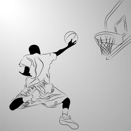 mann bad:   Basketball-Spieler auf wei�em Hintergrund (Abbildung) Illustration