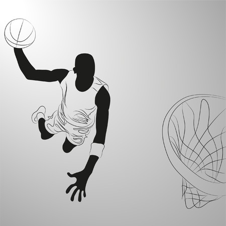 basketball player:  basketball player on white background (illustration)