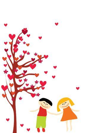 amor de la pareja bajo el árbol de corazón sobre fondo blanco