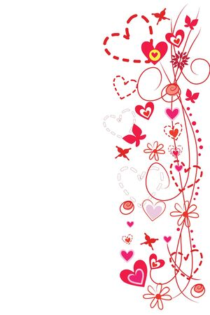 butterflies and flowers: beautiful abstract pattern heart  on white background Illustration