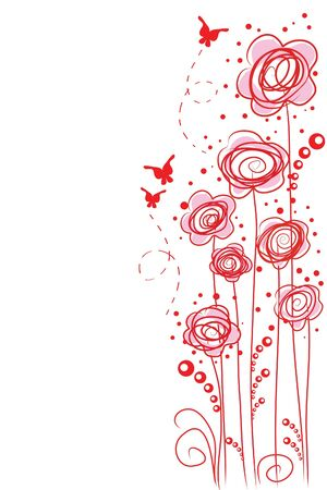 beautiful abstract red flowers on white background Illustration
