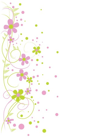 beautiful green and pink flowers on white background