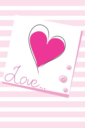 messege: messege with pink heart on  striped background