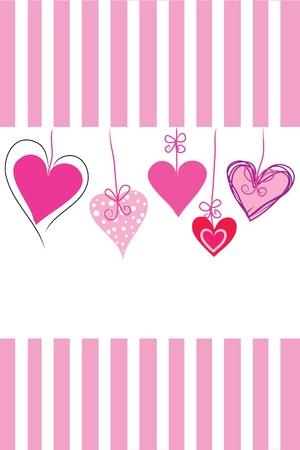 handing: many beautiful handing heart on white background