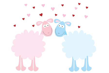 beautiful love fun sheep on white background Stock Vector - 7925869