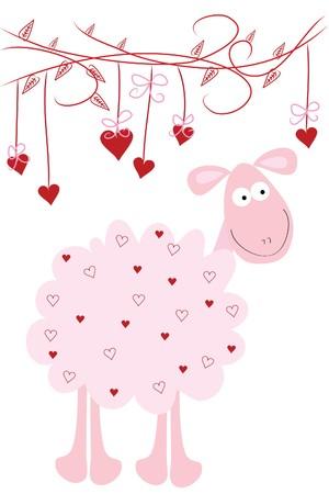 under heart: beautiful love fun sheep under heart tree