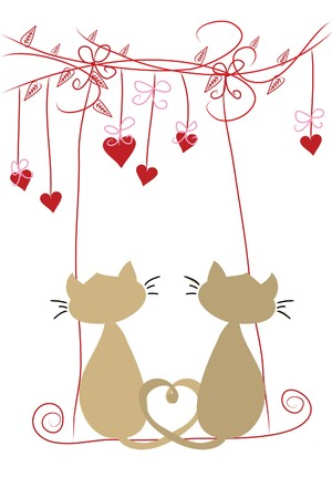 love tree: two beautiful funny love cats on swing