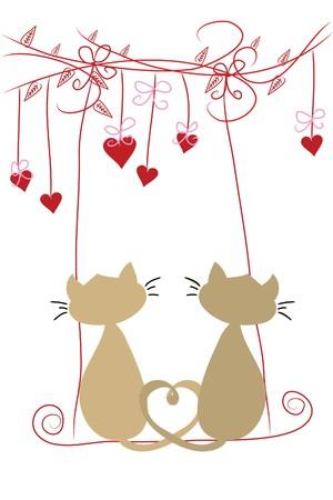 zwei schöne funny Liebe Katzen auf Schaukel Vektorgrafik