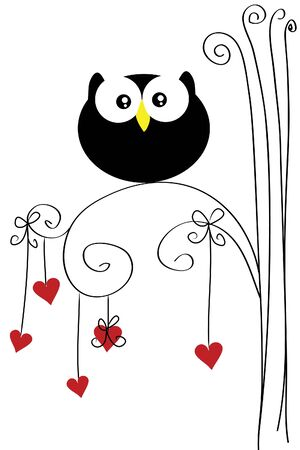 beautiful funny owl sit on heart tree