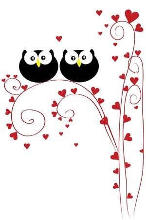 knowledge tree: funny love owl sit on heart tree Illustration