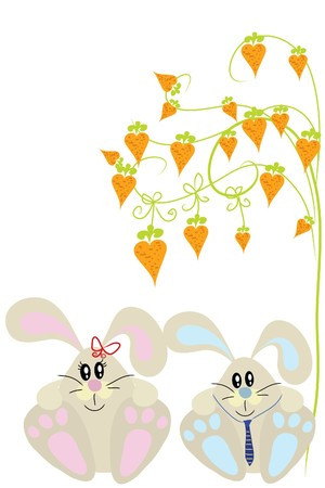 carrot tree: two funny cute rabbit under carrot tree Illustration