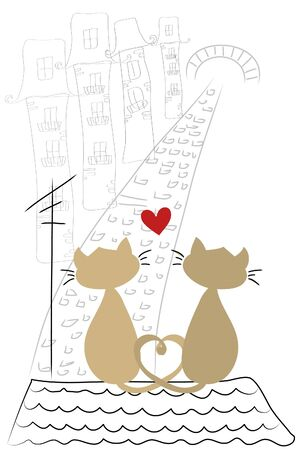 two love cats sit together on roof  Vector