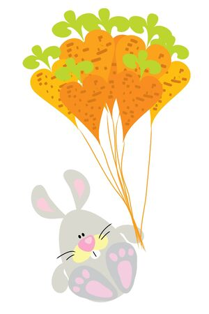 funny cute rabbit fly on carrot ballon Stock Vector - 7925943