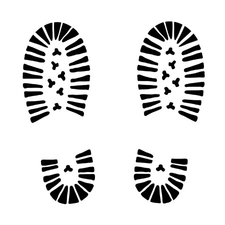 shoe print: black   trail foot on white background (illustration)
