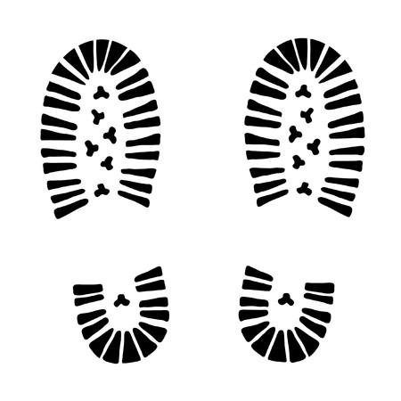 chaussure sport: pied de piste noire sur fond blanc (illustration) Illustration