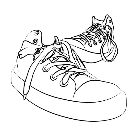 tennis shoe: black  sneakers on white background (illustration) Illustration