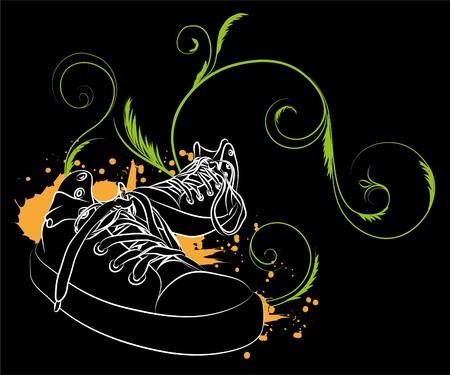 white  sneakers on black background (illustration) Vector