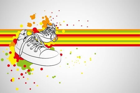 black sneakers on gray background (illustration)
