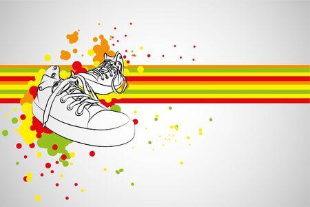 sneaker: black sneakers on gray background (illustration)