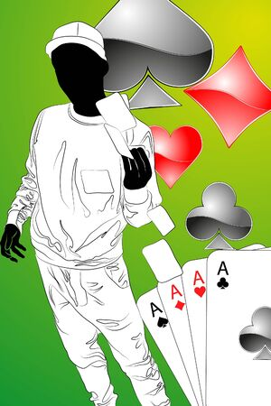 Man with playing cards in hand   Vector