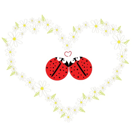 two beautiful red ladybird in daisy heart  Vector