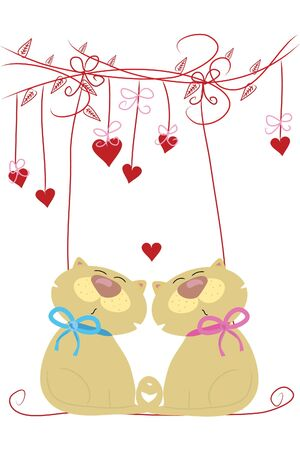 two beautiful funny love cats on swing Vector