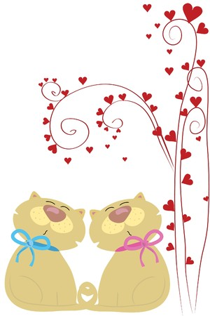 under heart: two beautiful funny love cats under heart tree