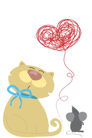 playful cat with mouse and heart clew Vector