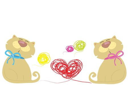 clew: two love cat and red heart clew