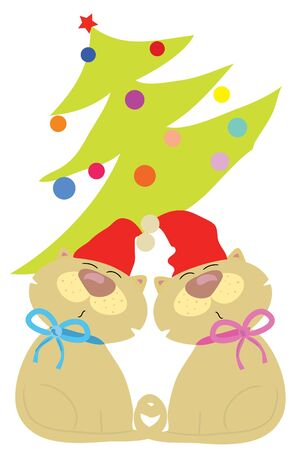 two funny cute love cats in Christmas Vector