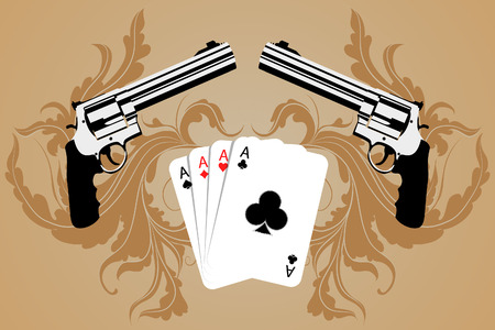 magnum: Revolver and playind cards on bround background