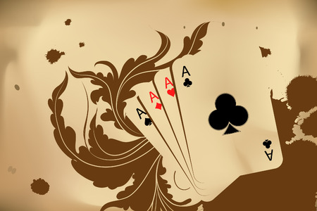 Revolver and playind cards on bround background Vector