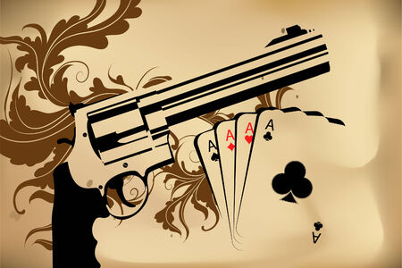 dangerous weapons: Revolver and playind cards on bround background