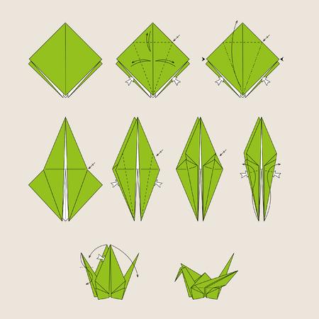 oiseau mouche: Oiseau origami vert sur fond brun clair