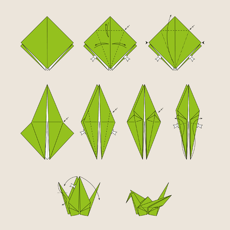 Origami green bird on light brown background