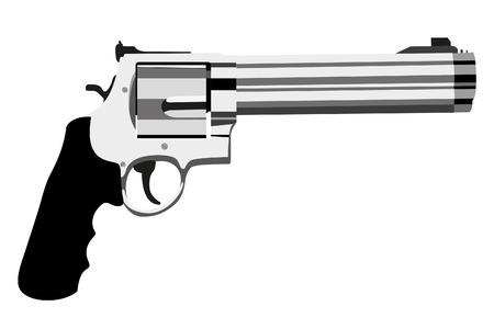 caliber: revolver magnum on white background (illustration) Illustration