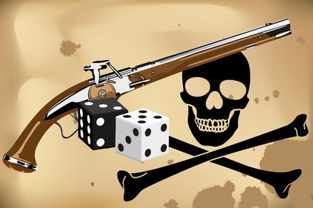 blunderbuss: Jolly Roger, blunderbuss and dice on brown background