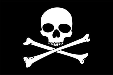cross bones: Jolly Roger sobre fondo negro (close up)
