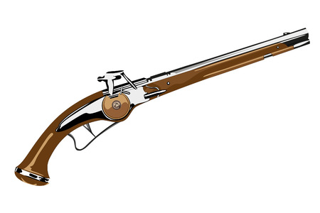 flint gun: pistol XVII century on white background