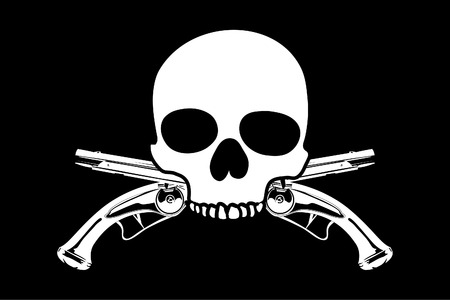 Jolly Roger on black background (close up) Stock Vector - 8301635