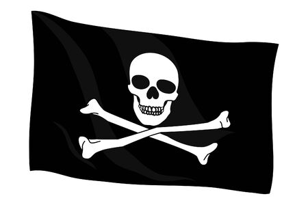Jolly Roger on black background (close up) Vector