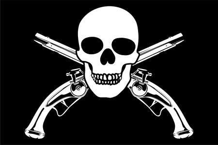 cross bone: Jolly Roger on black background (close up) Illustration