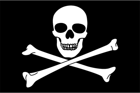 cross bones: Jolly Roger on black background (close up) Illustration