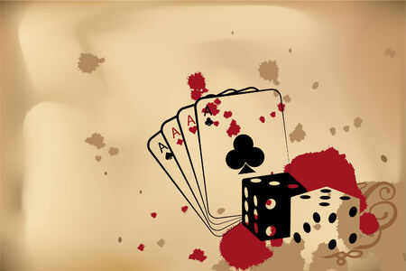 red dice: casino background (dice and playind cards)