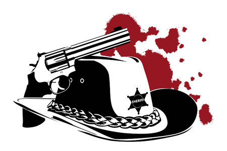 cowboy background (revolver and hat on white) Vector