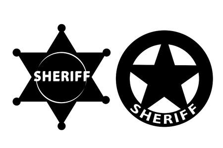 Estrella de Sheriff de negro sobre fondo blanco Ilustración de vector