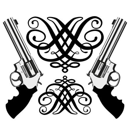 탄약: revolver magnum on white background (illustration) 일러스트